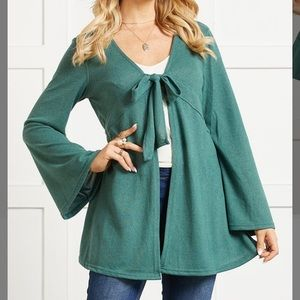 🆕Suzanne Betro Teal Tie-Front Cardigan